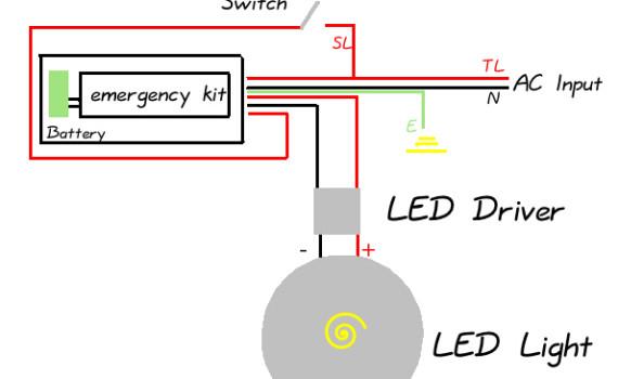 全功率LED应急电源整体接线